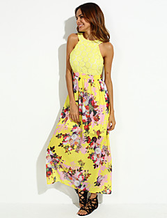 Women's Party/Cocktail Sexy Dress,Print Crew Neck Maxi Sleeveless Red / Yellow Polyester Summer