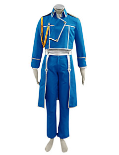 Inspired by Fullmetal Alchemist Roy Mustang Anime Cosplay Costumes Cosplay Suits Patchwork Blue Long Sleeve Coat / Shirt / Pants / Gloves