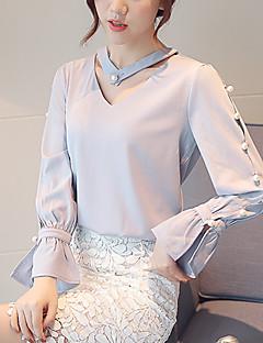 Mulheres Blusa Formal / Trabalho Simples Primavera / Outono,Sólido Azul / Rosa / Branco / Preto Poliéster Decote V Manga Longa Fina