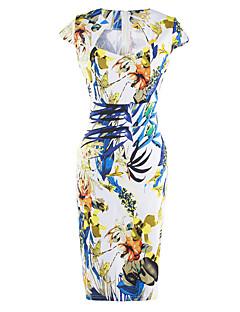 Mulheres Bandagem Vestido,Casual / Festa/Coquetel / Bandagem Vintage Floral Decote Quadrado Altura dos Joelhos Sem Manga Azul / Vermelho