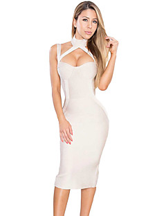 Apricot Women's Choker/Cut Out High Neck Hollow-out Bandage Dress
