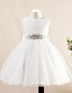A-line Short / Mini Flower Girl Dress - Tulle Sleeveless Jewel with Bow(s) / Crystal Detailing