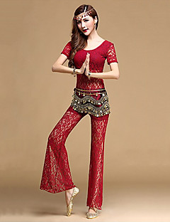 Belly Dance Outfits Women's Training Lace 2 Pieces Black / Fuchsia / Burgundy / Dark Blue Belly Dance Top / Pants
