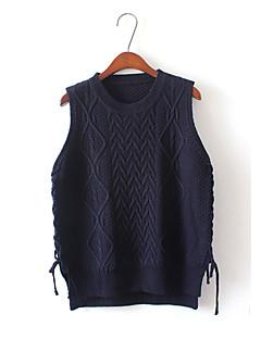 Women's Going out Vintage Short Vest,Solid Round Neck Sleeveless Cotton Summer Medium
