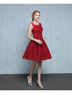 Cocktail Party Dress-Burgundy A-line V-neck Short/Mini Lace / Tulle