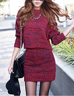 Women's Going out Street chic Sweater Dress,Solid Round Neck Mini Long Sleeve Red / Gray Acrylic Fall Mid Rise Micro-elastic