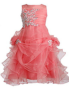 Ball Gown Tea-length Flower Girl Dress - Tulle Sleeveless Jewel with Beading / Crystal Detailing / Pick Up Skirt