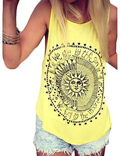 Women's Casual/Daily Street chic Summer Tanks,Print U Neck Sleeveless Black / Yellow Cotton Thin