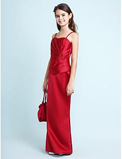 Lanting Bride® עד הריצפה סאטן שמלה לשושבינות הצעירות  בתולת ים \ חצוצרה מחשוף לב / רצועות ספגטי טבעי עם חרוזים / בד נשפך בצד