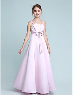 Lanting Bride® Floor-length Stretch Satin Junior Bridesmaid Dress A-line / Princess Spaghetti Straps Empire with Beading / Bow(s)
