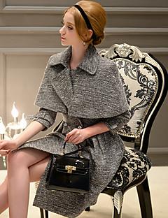 De dabuwawa vrouwen casual / formeel straat chic / verfijnd mantel jas, solide notch revers ¾ mouw