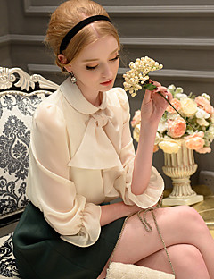 Women's Going out / Casual / Holiday Vintage / Sophisticated Blouse,Solid Lapel Collar Long Sleeve