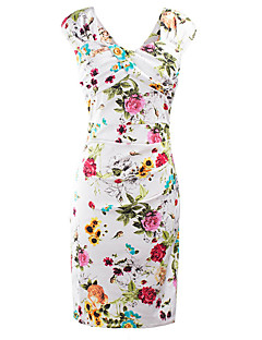 Women's Casual/Daily / Party / Club Vintage / Street chic Bodycon Dress,Floral Square Neck Knee-length