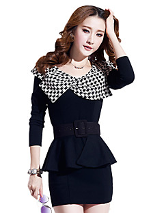 Spring / Fall Going out/Casual/Daily/Party Women's Dresses Houndstooth Bow Neck Long Sleeve Pack Hip Dress