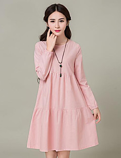 Women's Plus Size / Casual/Daily Street chic Loose Dress,Solid Round Neck Above Knee Long Sleeve  LinenSpring