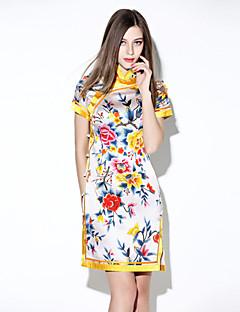 i-yecho einfache Frauenblumenfigurbetontes Kleid, stehen Mini-Polyester