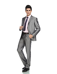 2017 Tuxedos Tailored Fit Peak Single Breasted One-button Wool & Polyester Blended Solid 2 Pieces Gray