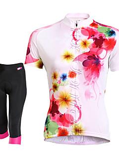TASDAN חולצת ג'רסי ומכנס קצר לרכיבה לנשים שרוול קצר אופניים נושם ייבוש מהיר כיס אחורי תומך זיעה 3D לוח רצועות מחזירי אורמכנסיים קצרים
