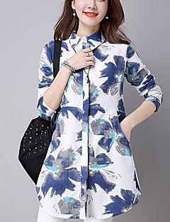 Mulheres Camisa Casual Moda de Rua Outono,Estampado / Patchwork Azul Linho Colarinho de Camisa Manga Longa Fina