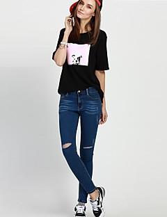 Pantaloni Da donna Jeans Semplice Cotone / Poliestere Elasticizzato