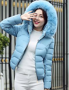 Damen Gefüttert Mantel,Standard Einfach Niedlich Lässig/Alltäglich Solide-Baumwolle Polypropylen Langarm Mit Kapuze