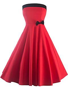 קיץ כותנה / פוליאסטר אדום ללא שרוולים עד הברך סטרפלס קולור בלוק וינטאג' ליציאה / מסיבה\קוקטייל שמלה נדן נשים,גיזרה גבוהה מיקרו-אלסטי