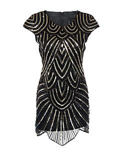 Cocktail Party Dress - Little Black Dress Mini Me Sheath / Column Jewel Short / Mini Polyester with Sequins