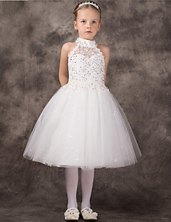 A-line Tea-length Flower Girl Dress - Tulle Sleeveless Halter with Beading