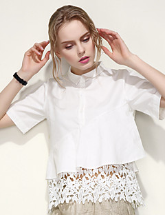 ARNE® Women's Shirt Collar Short Sleeve Shirt & Blouse White-B007