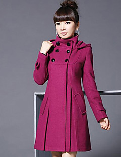Women's Plus Size Street chic Coat,Solid Hooded Long Sleeve Winter Red / Black / Gray / Green Polyester Thick