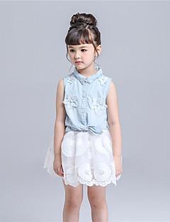 Mädchen Kleidungs Set-Lässig/Alltäglich einfarbig Baumwolle / Polyester Sommer Weiß