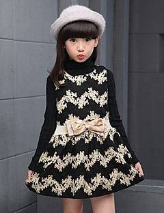 Girl's Casual/Daily Print Dress,Cotton Spring / Fall Red / Beige