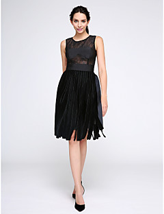 TS Couture Cocktail Party Prom Dress - Little Black Dress A-line Jewel Knee-length Lace Velvet with Lace