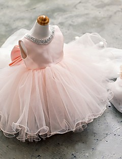 Ball Gown Short / Mini Flower Girl Dress - Tulle Sleeveless Jewel with Beading / Bow(s)
