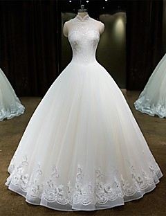 Princess Wedding Dress Floor-length High Neck Lace / Tulle with Beading / Lace