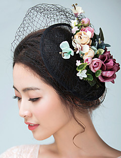 Women's Satin / Flax Headpiece-Wedding / Special Occasion Fascinators / Hats / Birdcage Veils 1 Piece With Flowers