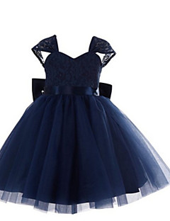 Ball Gown Tea-length Flower Girl Dress - Lace / Tulle Short Sleeve Straps with Lace