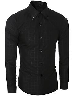 Men's Plaids Casual / Work Shirt,Cotton Long Sleeve Black / Blue / White