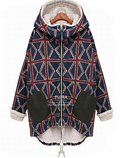 Women's Plus Size Vintage Coat,Plaid Hooded Long Sleeve Fall / Winter Blue Cotton Thick