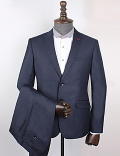 Suits Standard Fit Peak Single Breasted Two-buttons Polyester Checkered / Gingham 2 Pieces Dark Blue Slanted