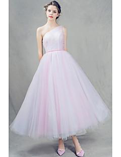 נשף שמלה גזרת A כתפיה אחת באורך הקרסול טול עם חרוזים / קפלים