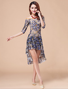 Belly Dance Dresses Women's Performance Chinlon / Lace Draped / 2 Pieces Blue / Orange / Royal Blue Half Sleeve