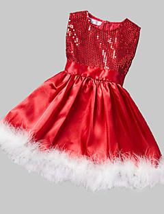 Mädchen Kleid-Formal Patchwork Polyester Winter / Herbst Rot
