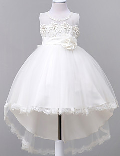 Ball Gown Court Train Flower Girl Dress - Lace Organza Jewel with Appliques Bow(s) Lace