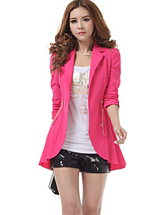 Women's Casual/Daily Street chic Fall Blazer,Solid Notch Lapel ¾ Sleeve Blue / Red / Green Polyester Medium