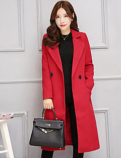 Women's Casual/Daily Simple Slim Large Size Coat,Solid Notch Lapel Long Sleeve Winter
