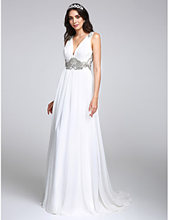 LAN TING BRIDE A-line Wedding Dress Simply Sublime Sweep / Brush Train V-neck Chiffon with Crystal Draped