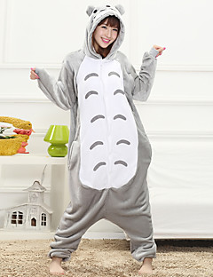 Unisex Cashmere / Polyester Cute Cartoon One-piece Pajama Winter Thick Sleepwear Gray