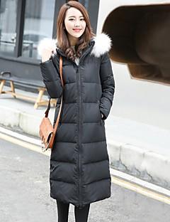 Damen Daunen Mantel,Lang Einfach Ausgehen / Lässig/Alltäglich / Formal Solide-Polyester Weiße Entendaunen Langarm Rot / Schwarz / GrauMit