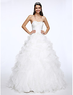 LAN TING BRIDE A-line Wedding Dress Vintage Inspired Chapel Train Sweetheart Organza with Beading Criss-Cross